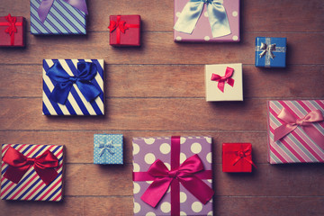 Different color gift boxes