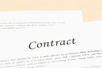 Business contract document with glasses