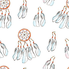 Seamless pattern with Dreamcatcher. Watercolor illustration.