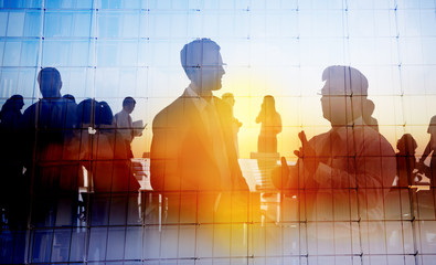 Silhouette Global Business People Meeting Concept