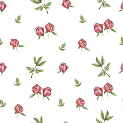 Seamless pattern with camelia flowers. Watercolor illustration.