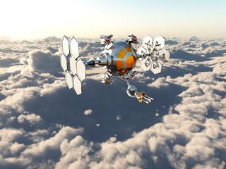 Raumschiff über den Wolken