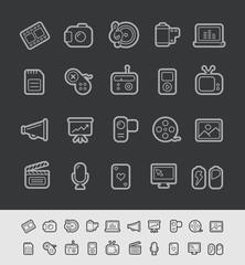 Media Icons // Black Line Series --- EPS 10+