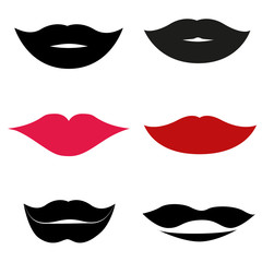 Collection of lips isolated on white, vector