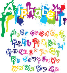 Hand drawn alphabet - letters are made of  water colors, ink spl