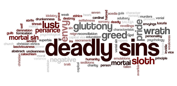 Tag cloud related to seven deadly sins