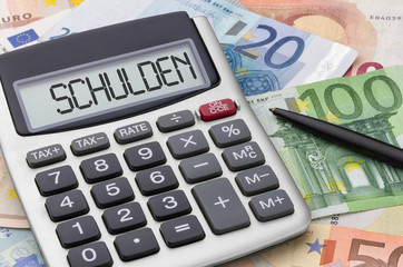 Fotomurales - Taschenrechner mit Geldscheinen - Schulden