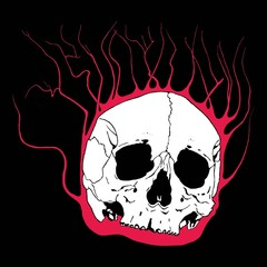 Skull with flaming branches
