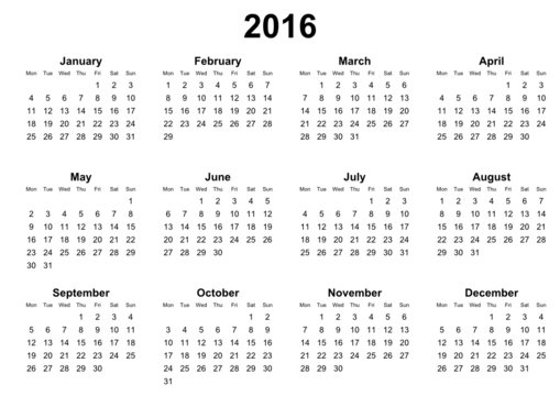 simple editable vector calendar 2016 monday first