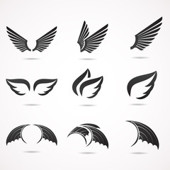 Wing vector icon set.