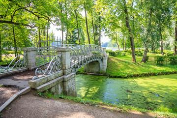 bridge through the green river in Gatchina