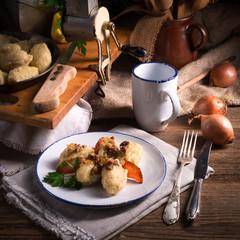 szare kluski -  Polish potato dumplings