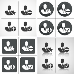 Businessman silhouette set icons