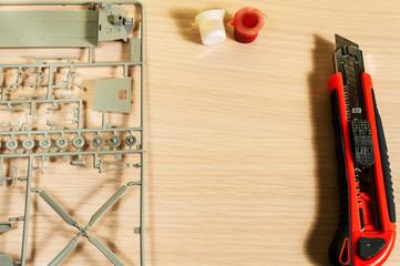 Hobby of assembling of plastic model