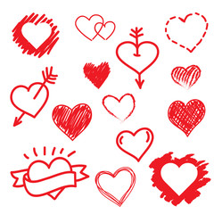 Vector hearts love set. Hand drawn.