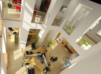 Aerial view of a luxurious office