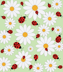 Daisies and ladybird vector pattern