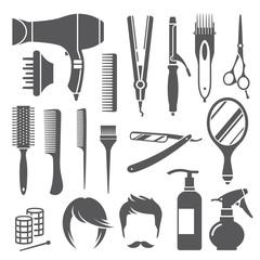 Hairdressing equipment symbols