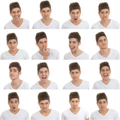 set of male facial expressions