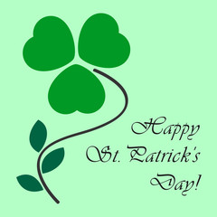 St Patricks card with shamrock and text
