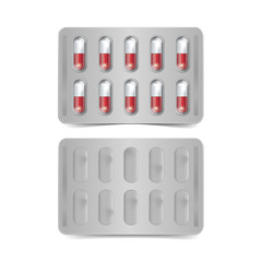 Vector Pack of Red and White Capsules Isolated