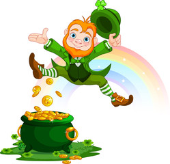 Canvas Prints Fairytale World Happy Leprechaun