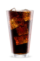 Cola glass with ice cubes isolated on white