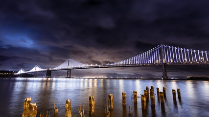 Fotomurales - San Francisco-Oakland Bay Bridge at night