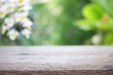 Outdoor Wooden table view