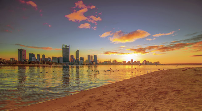 Golden Sunrise View of Perth Skyline