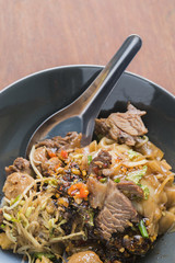 Asian food, beef noodle dry