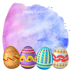 Congratulatory Easter background with eggs