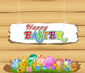 The Easter with eggs and wood sign board