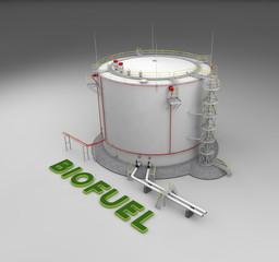Biofuel storage tank on gray background