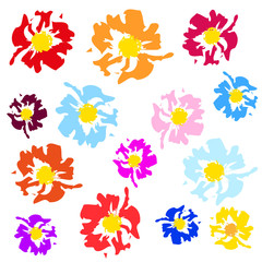 abstract madow color flowers - vector brash
