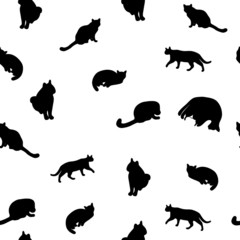 pattern of cats in different poses vector