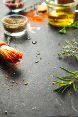 Messy Kitchen Table with Herbs and Spices