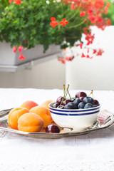 Apricots and a Cup of Fresh Blueberries and Cherries