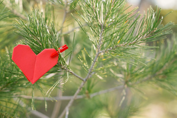 Pine branch with Origami heart pin
