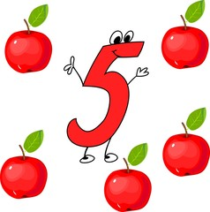 Funny number five and five red apples