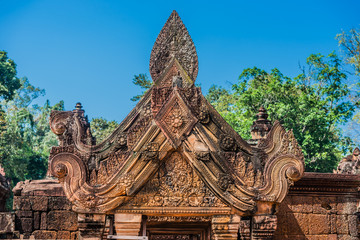carved pendiment Banteay Srei hindu pink temple Cambodia