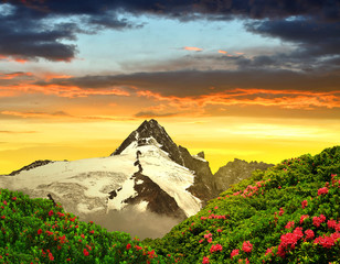 Grossglockner in the sunset, National Park Hohe Tauern, Austria