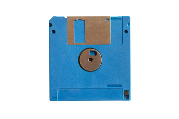 Blue floppy disk isolated on white background