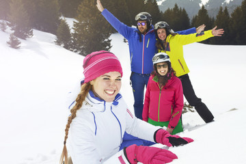 Group of friends having fun together in mountain