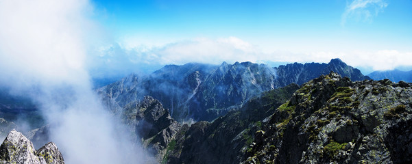 Panorama from the top Świnica in the Polish Tatras