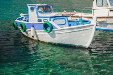 Fishing motorboat floating on island Kalymnos