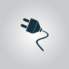 Vector electrical plug web flat icon.