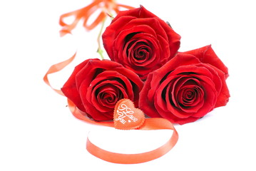 red roses with hearts for Valentine isolated on a white backgrou