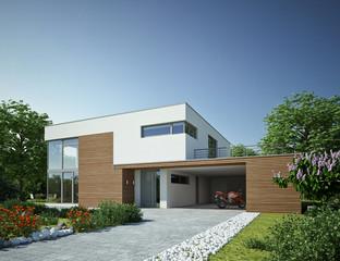 Haus Kubus 3 Holz mit Carport