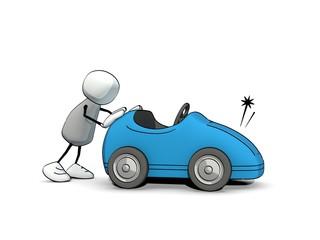 little sketchy man pushing a broken car
